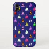 Jockey Silks Horse Rider Pattern on Blue iPhone XS Max Case