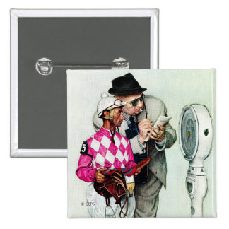 Jockey Weighing In by Norman Rockwell Pinback Button