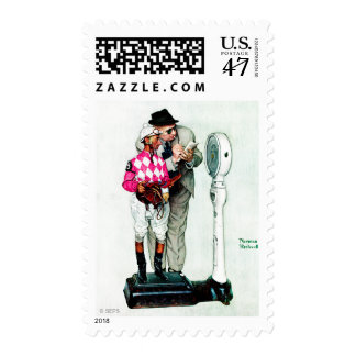 Jockey Weighing In by Norman Rockwell Postage Stamp