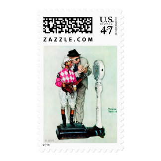 Jockey Weighing In by Norman Rockwell Stamp