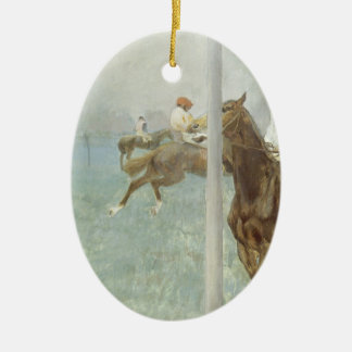 Jockeys Before the Race by Edgar Degas Ceramic Ornament