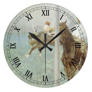 Jockeys Before the Race by Edgar Degas Large Clock