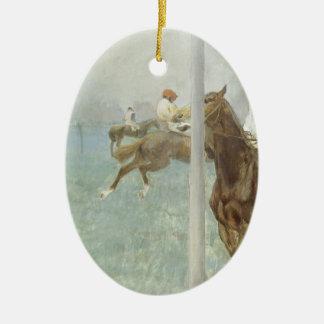 Jockeys Before the Race by Edgar Degas Christmas Ornaments