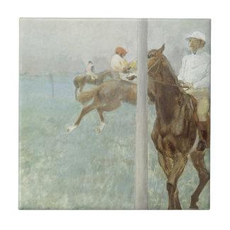 Jockeys Before the Race by Edgar Degas Tile