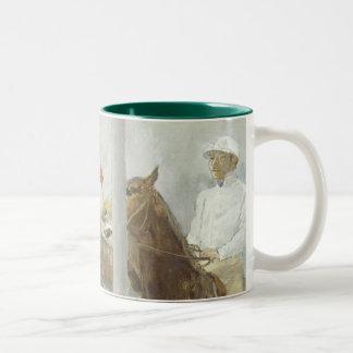 Jockeys Before the Race by Edgar Degas Two-Tone Coffee Mug