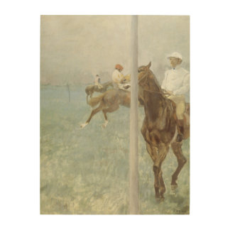 Jockeys Before the Race by Edgar Degas Wood Wall Art