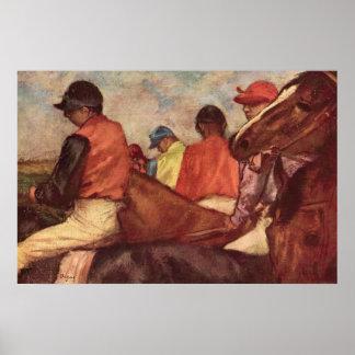 Jockeys by Edgar Degas, Vintage Horse Racing Art Poster