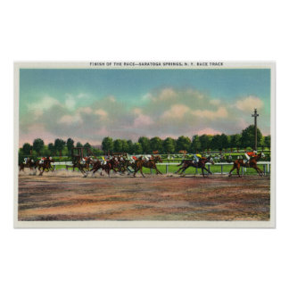Jockeys Finishing Horse Race at Race Track Print
