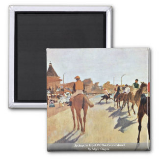 Jockeys In Front Of The Grandstand By Edgar Degas 2 Inch Square Magnet