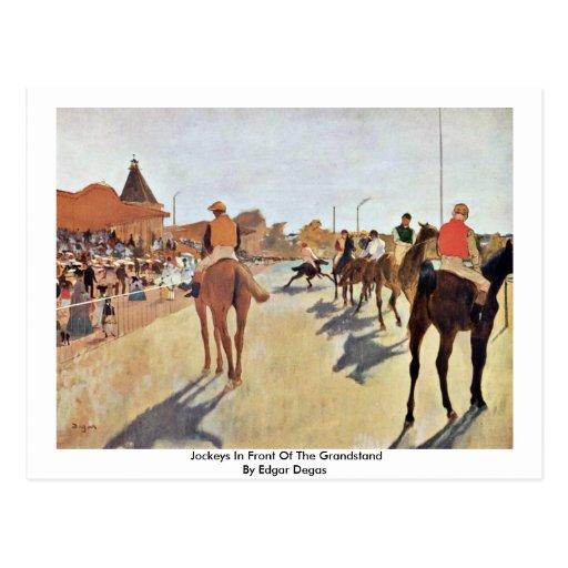 Jockeys In Front Of The Grandstand By Edgar Degas Postcard