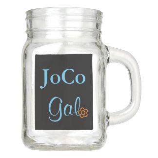 JoCo Gal NC Personalized Orange Flower on Black Mason Jar