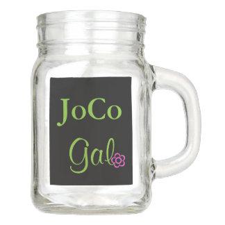 JoCo Gal NC Personalized Pink Flower Mason Jar