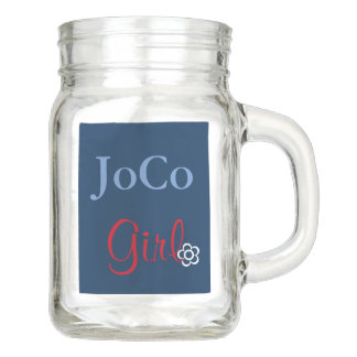 JoCo Girl NC Personalized Red White Blue Mason Jar