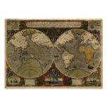 Jodocus Hondius 1595 Map of the World Poster