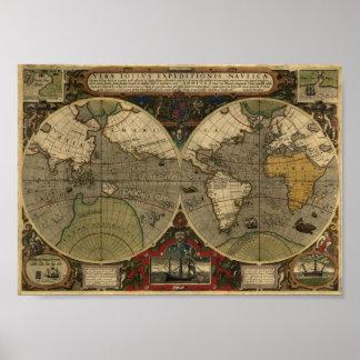 Jodocus Hondius 1595 Map of the World Poster