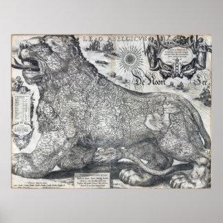 Jodocus Hondius 1611 Ancient Map Leo Belgicus Poster