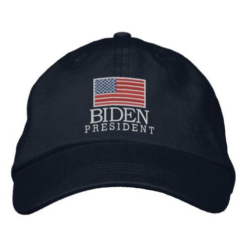 Joe Biden 2020 for President American Flag - navy Embroidered Baseball Cap