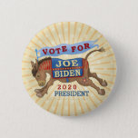 "Joe Biden for President 2020 Democrat Donkey Button<br><div class=""desc"">Vote for Joe Biden - 2020 President : Democrat donkey political election design : kicking donkey waving a flag with stripes and a star : 2020 Presidential election : campaign merchandise for Democrats : politics : political gear : United States of America : candidates</div>"