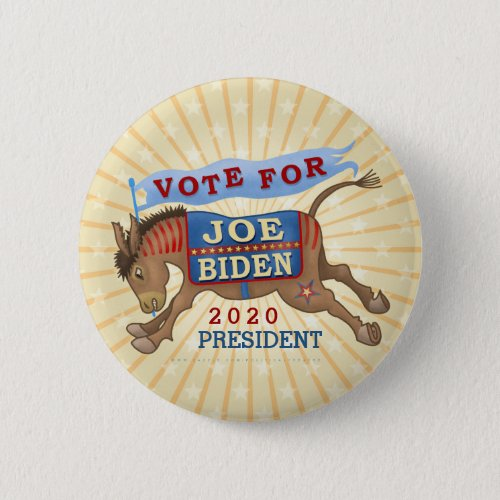Joe Biden for President 2020 Democrat Donkey Button