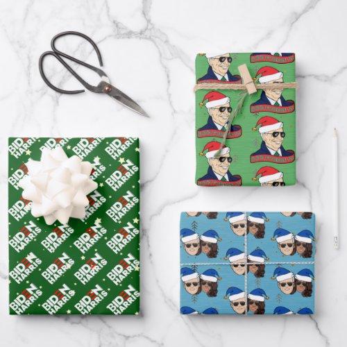 Joe Biden Kamala Harris Blue Christmas Trio Gift Wrapping Paper Sheets