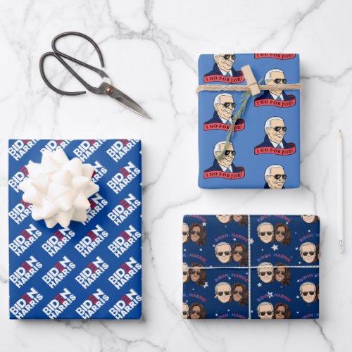 Joe Biden Kamala Harris Blue POTUS Trio Set Gift Wrapping Paper Sheets