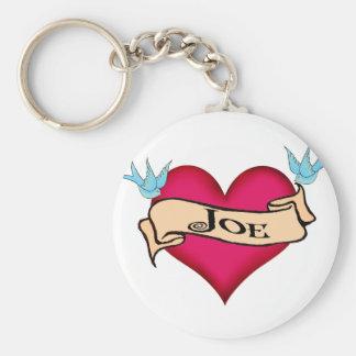 Joe - Custom Heart Tattoo T-shirts & Gifts Key Chains