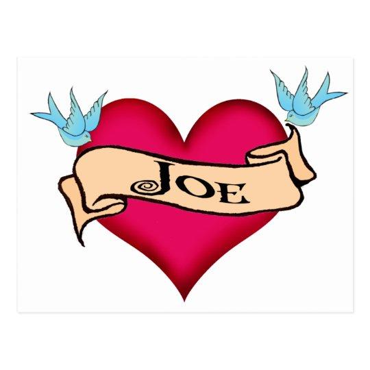 Joe - Custom Heart Tattoo T-shirts & Gifts Postcard