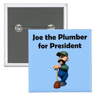 Joe el botón del fontanero pin cuadrado