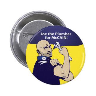 Joe el botón del fontanero pin redondo de 2 pulgadas