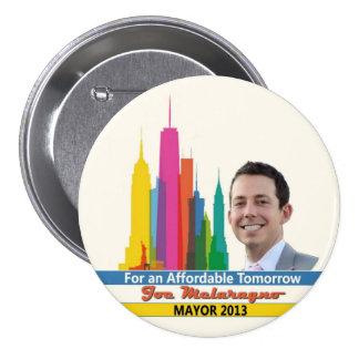 Joe Melaragno para el alcalde 2013 de NYC Pin Redondo De 3 Pulgadas