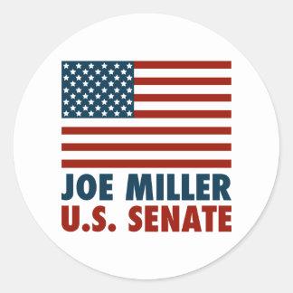 Joe Miller para el senado Pegatina Redonda