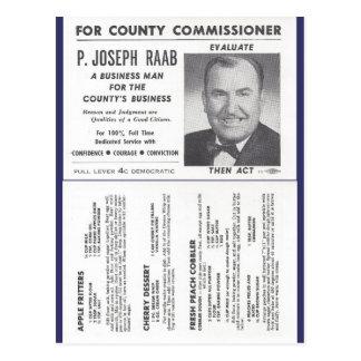 Joe Raab's Orchard Recipes & Political Ad Postcard