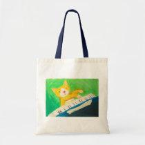 Joe the pianist cat tote bag