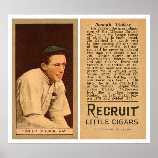 Joe Tinker Cubs Baseball 1912 Poster