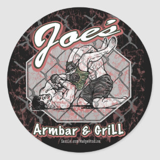 Joes_armbar_grill_1 Classic Round Sticker