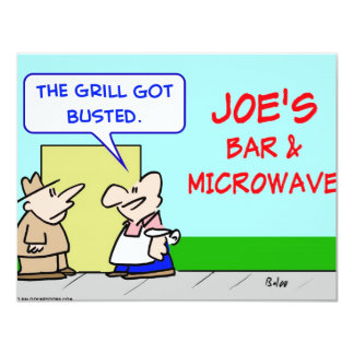 """joes bar and grill microwave busted 4.25"""" x 5.5"""" invitation card"""