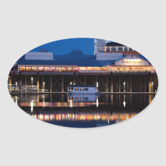 Joe's Crabshack at night Oval Sticker