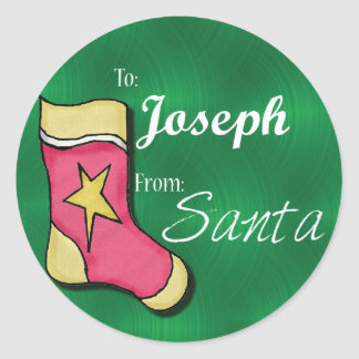 Joeseph Personalized Christmas Label75 Classic Round Sticker