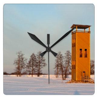 Jõesuu watchtower Lake Võrtsjärv Estonia Square Wallclock