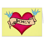 Joey - Custom Heart Tattoo T-shirts & Gifts Greeting Card