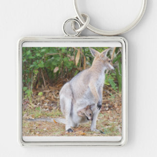 Joey with Mama Kangaroo Silver-Colored Square Keychain