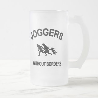 Joggers Without Borders Frosted Glass Beer Mug