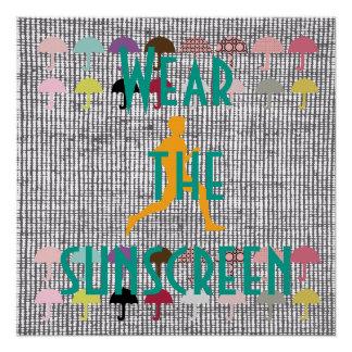 Jogging Beach Sunscreen Motivational Poster