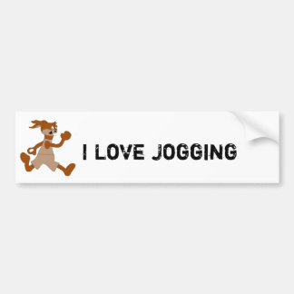 Jogging Cartoon Rabbit Bumper Sticker