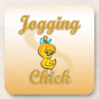 Jogging Chick Beverage Coaster