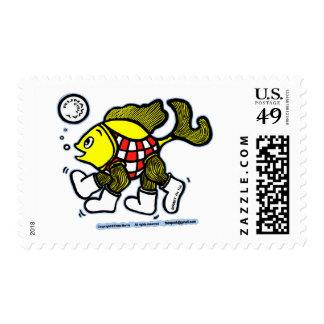 JOGGING FISH funny runaway fish cartoon Post Stamp
