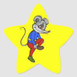 Jogging Mouse Star Sticker