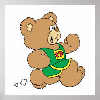 Jogging Running Bear Poster