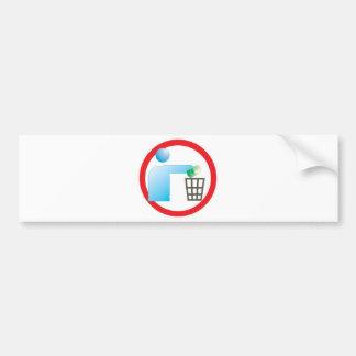 jogue lixo no lixo sinal ilustração informativa bumper sticker