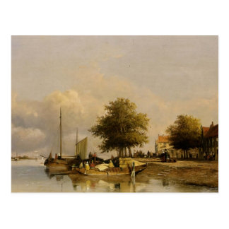 Johan Weissenbruch- Townsfolk on a quay Postcard